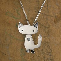 Sterling Silver Alley Cat Charm Necklace