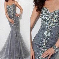Shinning Strapless Grey ...