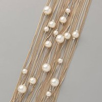 Juliet &amp; Company Runway Multi Strand Pearl Bracelet