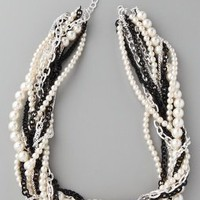 Adia Kibur Short Pearl & Black Stone Twisted Necklace