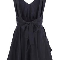 Cut-out Pleated Black Dress  S010017