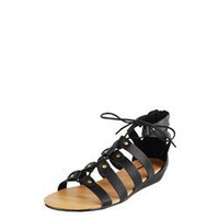 Glaze Momo1 Black Strappy Laced Gladiator Sandals and Womens Fashion Clothing  Shoes - Make Me Chic