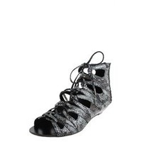 Bamboo Denisa74 Black Laced Gladiator Snake Sandals and Womens Fashion Clothing  Shoes - Make Me Chic