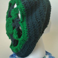Green Shamrock/Clover Motif Crochet Slouchy Hat/Beret -Adult Size - OOAK