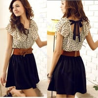 Summer Women Chiffon Crew Neck Short Sleeve Dots Polka Waist Top Dress With Belt