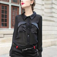 Black Hit-Color Pocket Long Sleeve Chiffon Shirt S010006