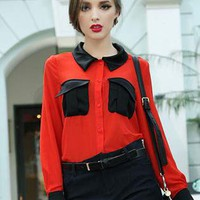 Red Hit-Color Pocket Long Sleeve Chiffon Shirt S010007
