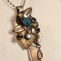 steampunk silver spoon pendant necklace Born by WakeUpTheAngel
