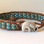 Lucky Elephant Leather Wrap Bracelet - Good Luck Elephant Button - Blue Picasso Czech Glass Seed Beads