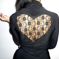 Valentine's Day Black Blouse With Lace Heart On by SuzannaMDesigns