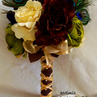 Wedding Bouquet Peacock Feather Garden Wedding