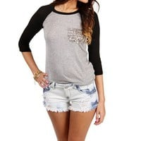 Charcoal/Black Sequin Pocket Raglan