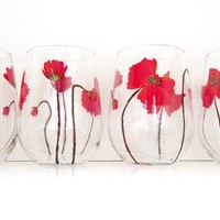 4 Red Poppy Stemless Wine Glasses by SwirlyGarden on Etsy