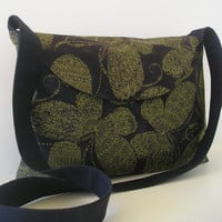 Messenger Bag in Green Butterfly design and Black by jazzygeminis