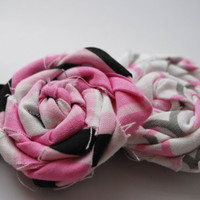 Double Fabric Rosette Headband in Pink Black by PosiesandPetals