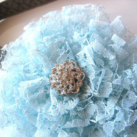 Blue Lace Flower Headband Elastic Rhinestone Headband