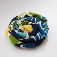 Multicolored Fabric Rosette with Blue Yellow by PosiesandPetals
