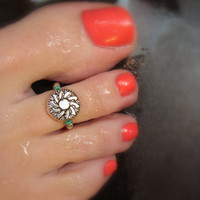 Toe Ring, Round Metal Bead, Sunflower, Bead Toe Ring