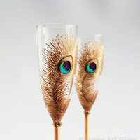 Peacock Design Wedding Champagne Flutes in by NevenaArtGlass