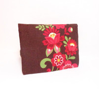 Fabric Business Card Holder, Credit Card, Business Card, Cloth Card Holder Brown with Red Flowers