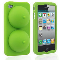 Green Creative Breast Soft Silicone Case for iPhone 4/4S