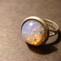Antique Silver Fire Opal Ring  Adjustable 759 by ClockworkAlley
