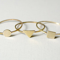 Tiny Rings in Brass Stackable Geometric -- Set of Three -- by anilani