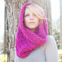 The Chunky Cowl Scarf Shawl Hood Hot Pink Fushia by CThandmade