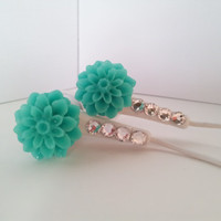 CuteTeal Dahlia Flower Earbuds with Swarovski crystals