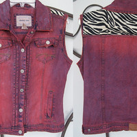 Pink Zebra Print Denim Vest Small Medium by SamsaraVintageShop