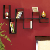 BLACK MODULAR WOODEN WALL SHELF PHOTO DISPLAY SHELVES WOOD BEDROOM HOME DECOR