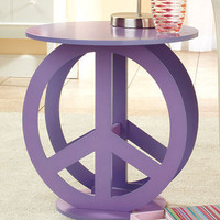 "New Purple Peace Sign Accent Display Side Table Tween Retro Decor 19"" x 18"" dia."