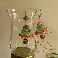 Dangling Glass Beads Earrings, Handmade Funky Lampwork Flower Glass Beads Earrings, Green, Amber,  Sterling Silver Hook
