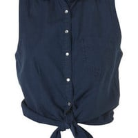 Denim Tie Front Shirt - Tops - Apparel - Topshop USA
