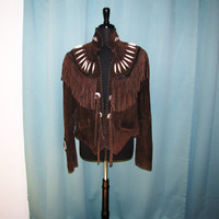vintage beaded and fringe dark brown suede jacket. size L to XL genuine leather. tribal jacket. biker jacket