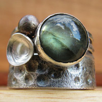Starry Night Ring Silver Labradorite Stack Ring by RootsJewelry