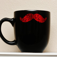 Mustache Sparkle Mug  Black with Red Glitter by TheBeautifulHome
