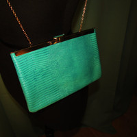 vintage teal leather evening clutch handbag made by Etra. unused condition. dead stock. Valentines day gift for her