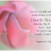 Custom bridal shower invitation with a pink flower faded in background