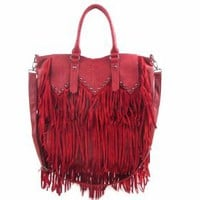 Amazon.com: Western Style With Fringes Decorated Fashion Handbag - Red: Clothing