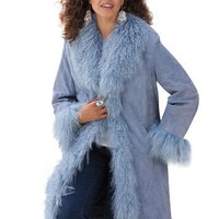 Plus Size Mongolian Trim Suede Coat