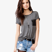 Faux Leather Tee | FOREVER21 - 2022608150