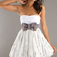 Prom Dresses, Celebrity Dresses, Sexy Evening Gowns at PromGirl: Short Strapless XOXO Dress with Bow