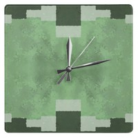 Shades of Green Square Wall Clocks from Zazzle.com
