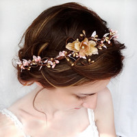 pink flower hair circlet gold flower hair by thehoneycomb on Etsy