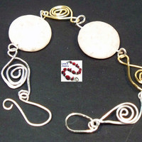 White Feldspar Wire Wrapped Bracelet Earrings Set
