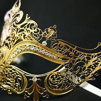 Venetian Mardi Gras Masquerade Gold Party Mask w/ Laser Cut Metal &amp; Rhinestones