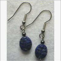 Handcrafted Lapis Scarab drop earrings by BeadedDelightsByStef