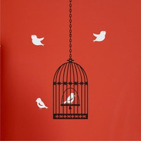 wall decal bird in cage vinyl wall art on chuckebyrdwallart.com