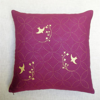 $65.00 Throw Pillow  Purple Linen  Metallic Gold Screen Printed by sveika